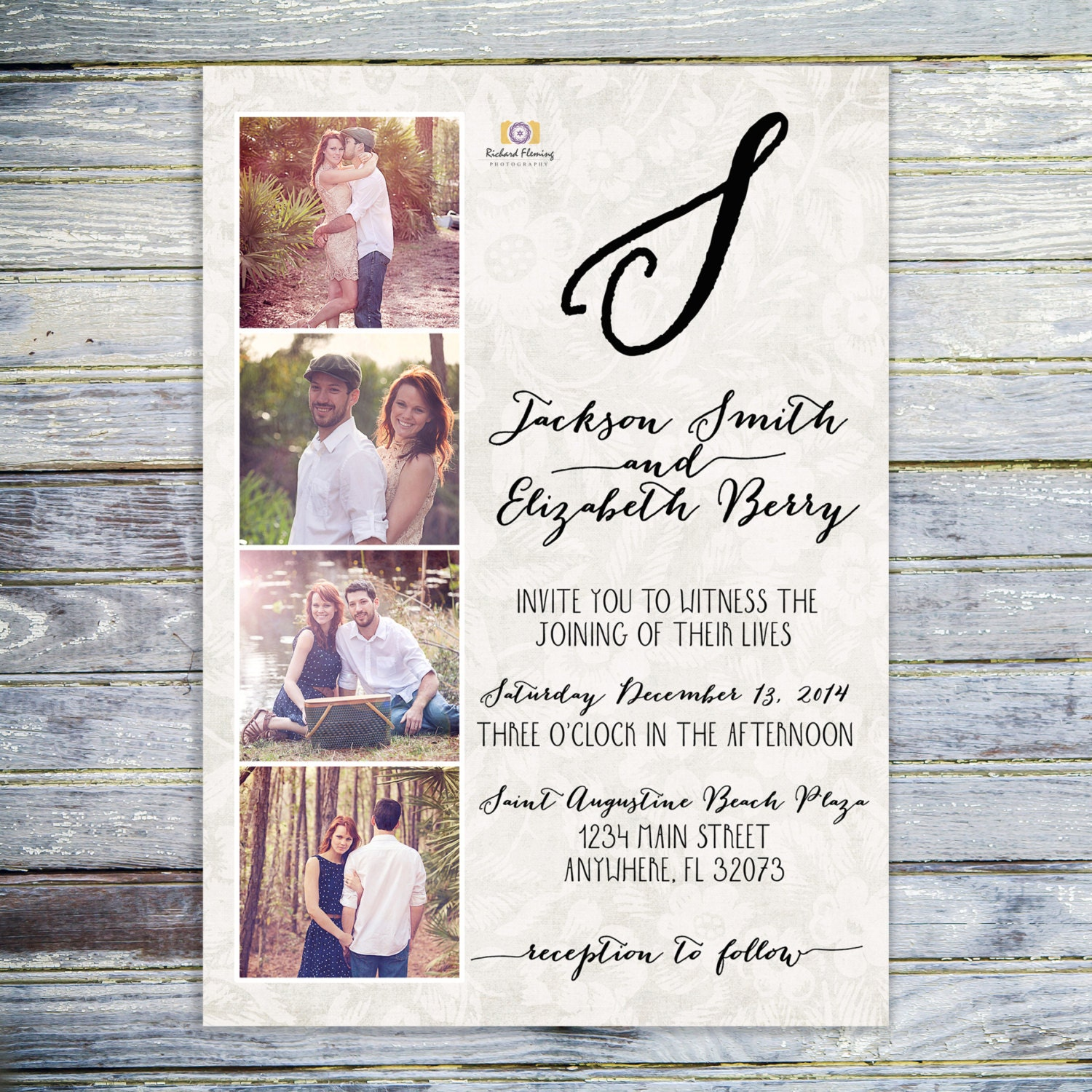 Printable Photo Collage Wedding Invitation Monogram Wedding