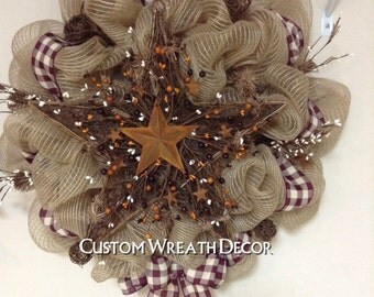 Country Wreath, Rustic Star Wreath, Burgundy Check Wreath,  Pip Berry Wreath, Burlap Wreath