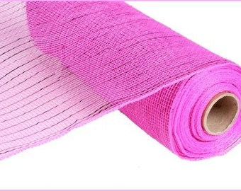 "10"" Hot Pink Deco Mesh, Hot Pink Metallic Deco Mesh, Fuchsia Metallic Deco Mesh,  Hot Pink Deco Poly Mesh (10 yards) - RE130111"