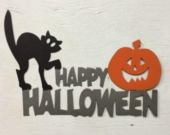 """Metal Happy Halloween Sign 16"""" x 11"""""""