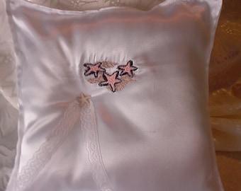 Beach wedding satin ring pillow starfish seashells embroidered