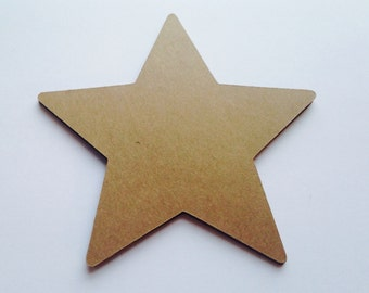 24 Large Kraft Star Die Cuts - 4""