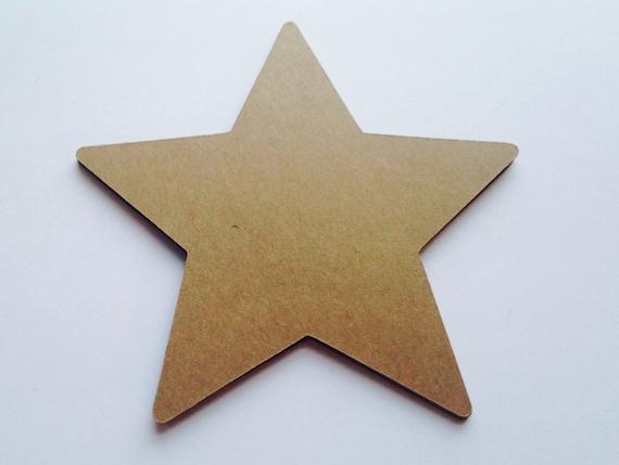 Large Kraft Paper Stars 4 Wide Rustic Star Shaped Die