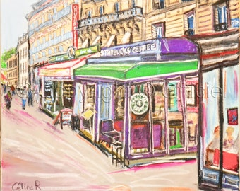 painting  Paris starbucks coffee  urban art original painting canvas