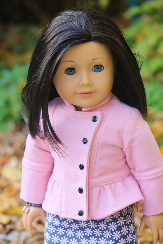 American Girl Doll Outfit, Pink Asymetrical Front Jacket, Matching Grey and Pink Sheath Dress