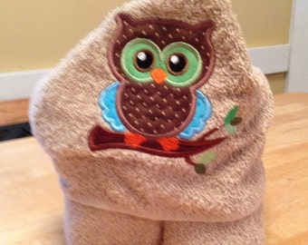 Hooded Owl Baby Towel, Hooded Baby and Toddler Towel-Baby Shower Gift