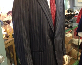 Fabulous Vintage 1920s Roaring 20s Gangster Suit Blue PinStriped Gatsby Suit in Excellent Condition