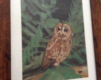 The lone owl - original watercolour