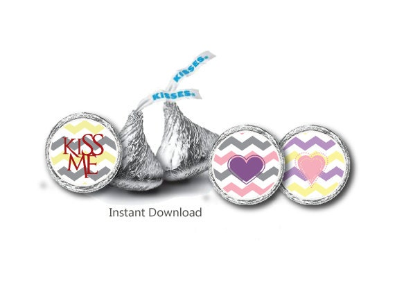 Kiss Label - Candy Sticker Label - Party Hershey kiss Sticker Label ...