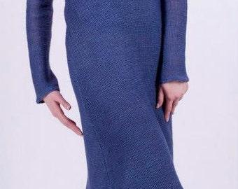 Linen knitted dress, organic clothing, eco friendly, clothing from flax, Kleid aus Flachs, umwelt Kleid, Strickwaren gemacht