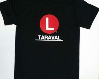 Mens L Taraval Muni Bus Line Tee