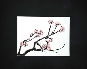Linocut of a blossom branche in pink, original Art Print, limited edition, paper size 300 x 400 mm.