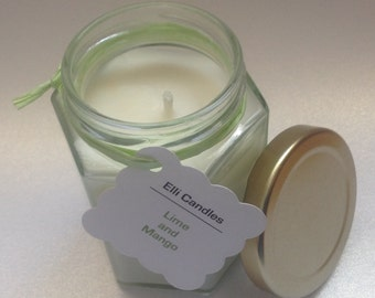 Handmade scented candle. Lime and mango scent in a hexagonal jar...this really is a lovely candle with lovely scent options!