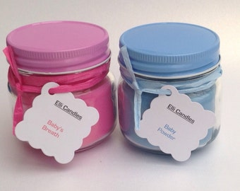 Mason jar candles - celebrate the birth of a new baby boy or girl!!