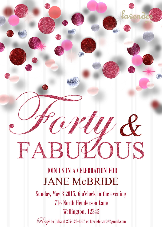Pink Glitter Birthday Party Invitation, DIY Printable Birthday ...
