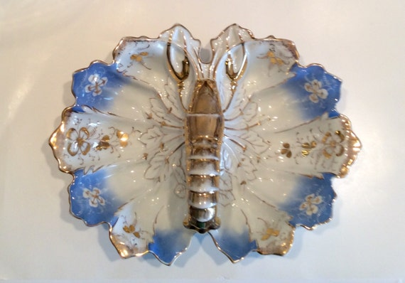 Collectible Antique Lobster Dish by John Schachtel, Germany 19th Century Hand Painted Porcelain Divided Serving Bowl