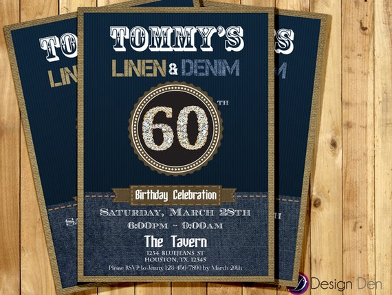 Denim Wedding Invitations: Adult Birthday Denim And Linen Invitation. Denim Pattern