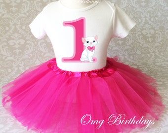 Fast Shipping - Birthday Pink Kitten Cat Kitty first 1st  Shirt & Tutu Set Girl Outfit Party Dress 6 9 12 18  month