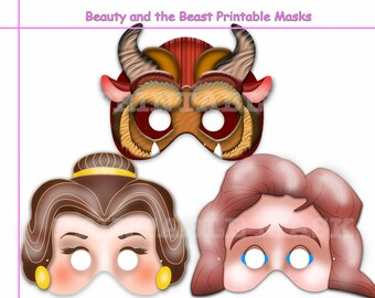 Unique 3 Beauty and the Beast Printable Masks, party mask, Belle, birthday, decoration, photo booth props, kids dress up mask, costume, Diy