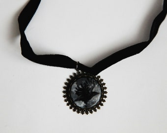 Flying crow handpainted pendant choker