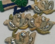 1 Piece Small Green and Brown Flower Applique Sew On Flower Patch