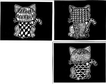 Zentangled Comic Cat original blank cards.