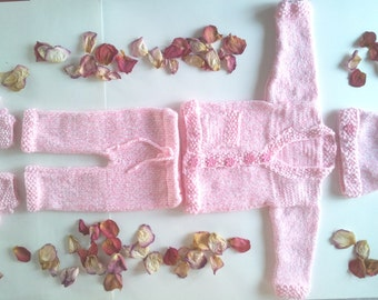 Baby Girl Knitting Pink Set, Knit Pants, Cardigan, Beanie, Booties