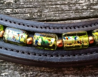 Bioluminescence: dressage browband for horses with vintage green and copper beads