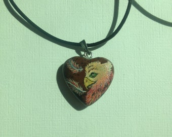 Hand-Painted Gryffin on Jasper Heart. Necklace pendant.
