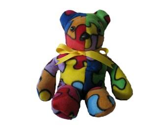 Autism Awareness Teddy Bear, Sensory Toy, weighted stuffed animal, stuffed animal