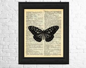 Butterfly Art Print, Butterfly Wall Art, Dictionary Page Art, Insect Print, Butterfly Poster, Insect Wall Art, Printable Art