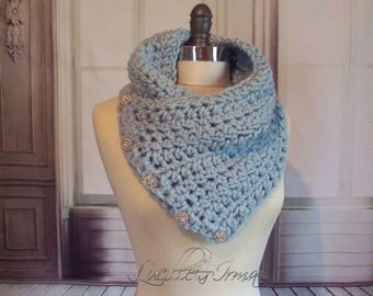 Blue Neckwarmer Or Scarf With Rhinestone Buttons Thick And Chunky Scarf Cowl Wool