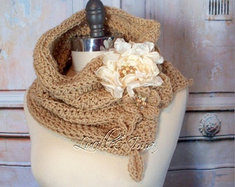 Champagne Neck Warmer With Fabric Flower Brooches Crochet Cowl Women's Scarf Infinity Scarf