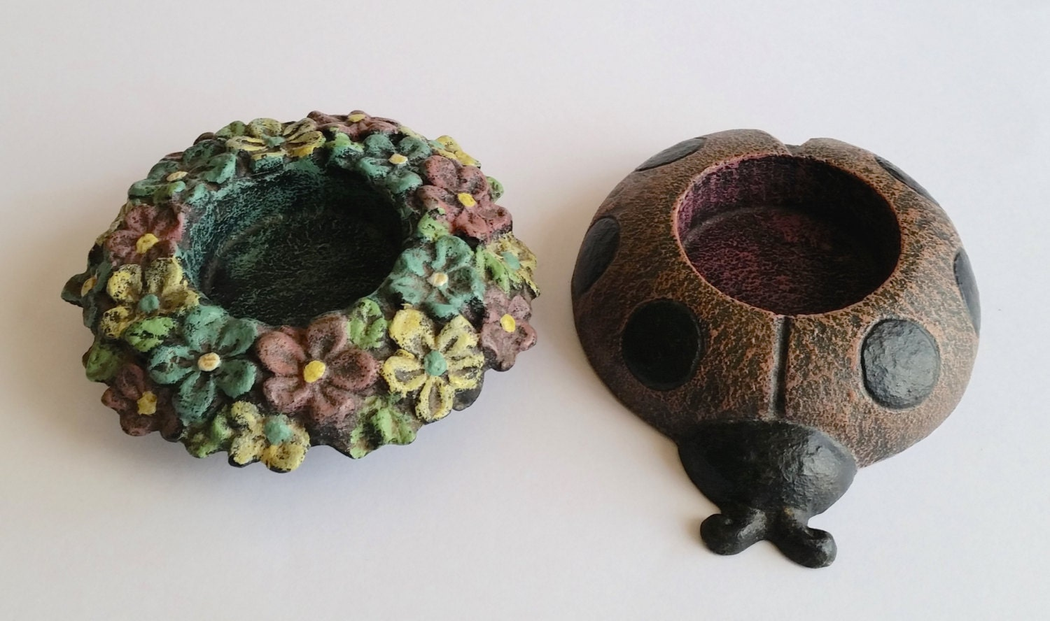 A Pair Of Unique Tea Light Candle Holders Floral And Lady Bird