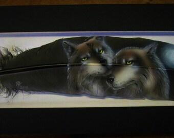 Wolf Mates - Russ Abbott - Original Hand Painted Feather
