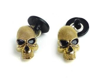 Skull cufflinks, gold metal cufflinks skull head unusual unique Goth jewelry Gothic Wedding Groomsmen