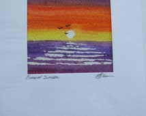 "Hand Painted Water Colour Card ""Summer Sunset"" Blank Birthday Card Anniversary Card Any Occasion Card"