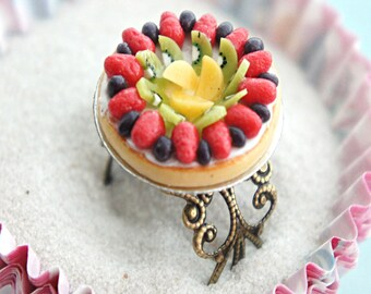 mixed fruit pie ring- miniature food jewelry, tart ring