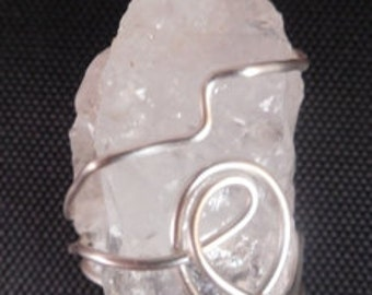 Natural Quartz Crystal Pendant Wrapped with Silver Colored Wire #44