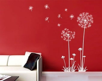 White Dandelion Wall Decal,flow In The Wind Wall Decal,dandelion Wall  Stickers,