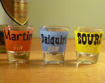 Set of 3 Mid Century Rumpus Room Federal Shot Glasses ~~~ Daiquiri, Sours and Martini with recipes