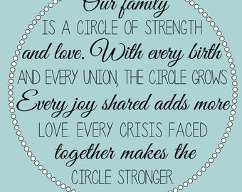 Our Family is a Circle of Strength and Love