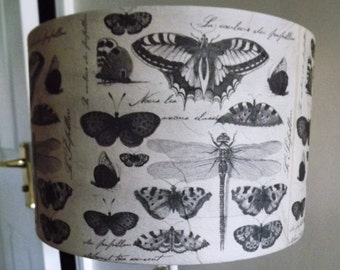 Butterfly Collection Botanical  Lampshade french shabby chic postmark script  Fatta da Mamma