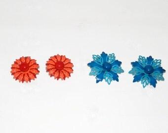 2 Sets of Enamel Earrings, Orange & Blue Set