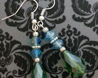 Silver and Blue & Green crystal dangle earrings