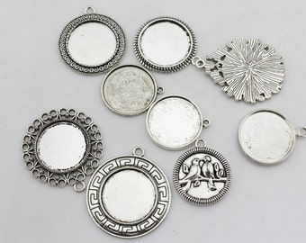 Blank pendant trays, Antique silver toned blank round bezel cabochon setings, 25mm, 9 style as your choice- 00857