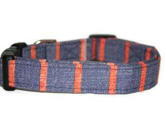 Blue and Orange Stripe Dog Collar