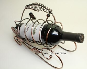 Wine Rack, Metal Wine Stand, Real Wine Bottle Holder, Home/Table/Ofifce/Bar Decor, Collectible.
