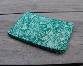 Teal Paisley Patterned Small Pencil Case