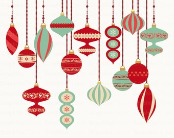 Vintage Christmas Ornaments Clipart. Christmas Clipart. Christmas Ornaments. 15 images, 300 dpi. Eps, Png files. Instant Download.